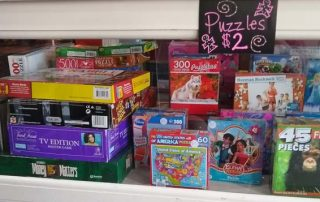 puzzles in display case